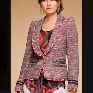 Rachel by Rachel Roy red tweed studded blazer 4